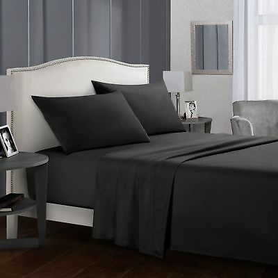 Flexible Ultra Soft 1000TC Flat Fitted Bed Sheets Double Queen King Size Sets