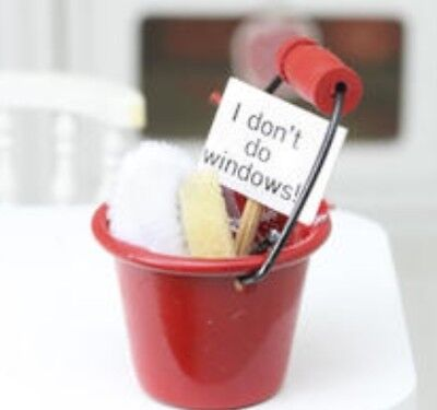 Miniature dolls house accessories Red  Cleaning Bucket with access 1:12th  scale