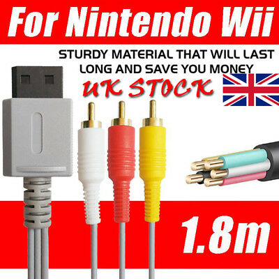 1.8M 3RCA AV Composite Wire Cable Wire Audio Video TV For Nintendo Wii U Game