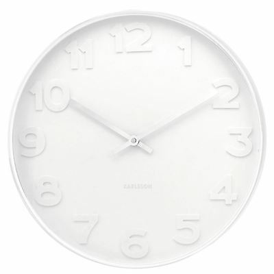 Karlsson Mr. White Numbers Wall Clock White Case & Face Unique Modern