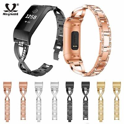 Replacement For Fitbit Charge 3 Rhinestone Stainless Steel Band Bracelet Strap
