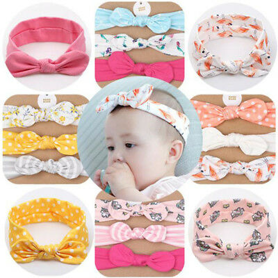 Baby Girls Lovely Printed Bow Knot Headband With Headwear Hair Accessories Set Z