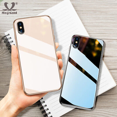 Luxury Plating Bumper Case for iPhone XR XS Max 7 8 Plus Clear Glass Hard Cover