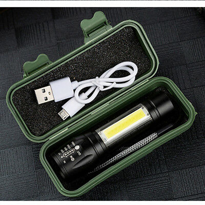 1X USB Rechargeable COB LED Outdoor Light Lamp Flashlight Torch + Side Light