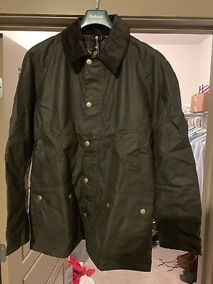 Barbour Men's Ashby Waxed Jacket in Olive - Size XL