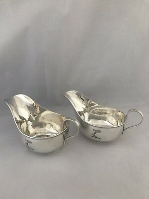 Solid Silver Crested Sauceboats 1922 Sheffield James Dixon