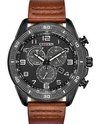 New Citizen LTR Eco-Drive Black Dial Leather Band Men's Chrono Watch AT2447-01E