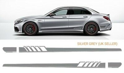 AMG C63 Side Stripe strip grey Decals Stickers - Mercedes C Class W205 S205
