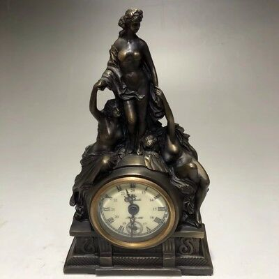 Chinese Antique Old copper handmade girl clock Watch Home office decoration