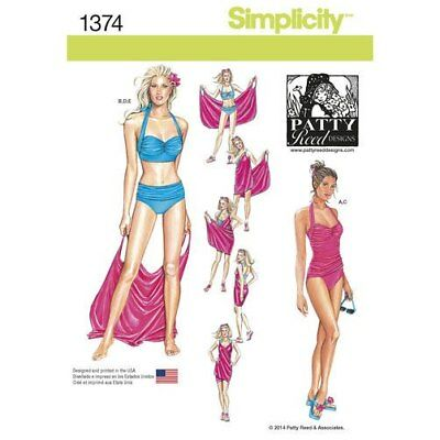 Simplicity 1374 Two-Piece Swimsuit & Beach Cover-Up pattern