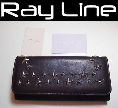 b3491cb85659 100% authentic JIMMY CHOO Zip long wallet Black Leather Studs  USED