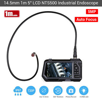 NTS500 14.5mm 5MP 5Inch Monitor Portable 2 LED Industrial Borescope w/ 1M Probe