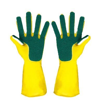 Latex Finger Cloth Glove Compound Sponge Cleaning Dish Washing Cleaning Glove/-W