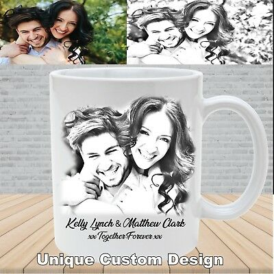 Personalised Valentine's Day photo pencil effect mug cup, Unique Photo Gift