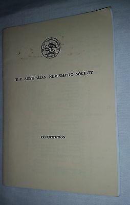 1980's Australian Numismatic Society Constitution handbook 32 pages