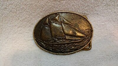 Vintage BTS Solid Cast Brass Sailboat Belt Buckle Excellent Condition