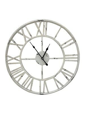 Antique White Wall Clock French Metal Vintage Shabby Chic Retro Skeleton 60cm