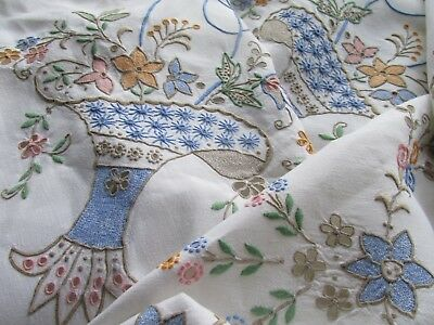 Vintage Hand Embroidered Madeira Style Huge 10ft Tablecloth-FABULOUS THROUGHOUT