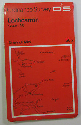 1972 old vintage OS Ordnance Survey seventh series one-inch Map 26 Locharron