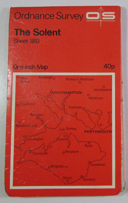 1968 Old Vintage OS Ordnance Survey Seventh Series One-Inch Map 180 The Solent