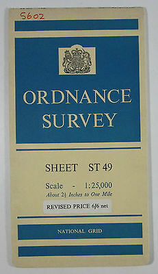 1959 old vintage OS Ordnance Survey 1:25000 First Series prov map ST 49 Carwent