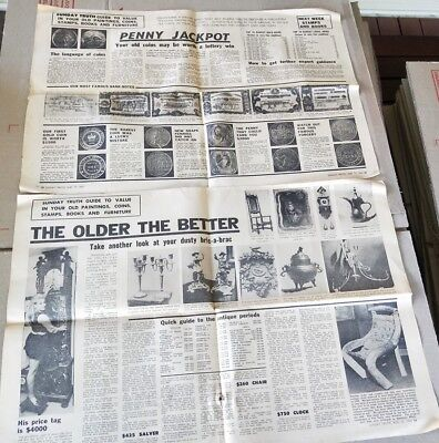 1969 Sunday Truth newspaper pages collectors articles coins stamps & antiques