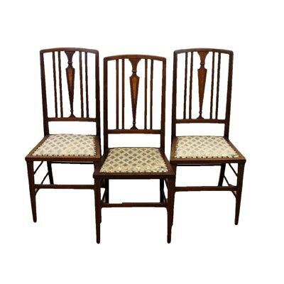 Set of Three Edwardian Antique Mahogany Rail Back Dining Chairs