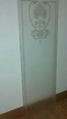 Stunning Etched Reclaimed Victorian Glass Panel