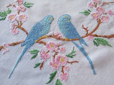 Stunning! Vintage Hand Embroidered Tablecloth-FLORAL BLOSSOM BRANCHES & BIRDS