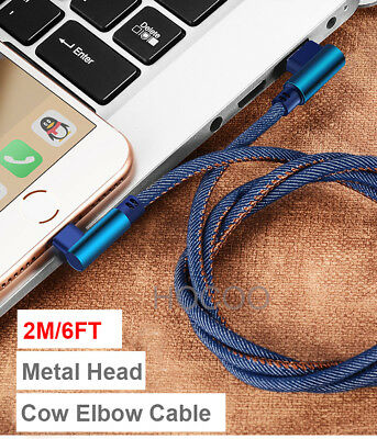 Extended Denim 2M Long Elbow lightning cable charging cord for iPhone 8 7 6 X