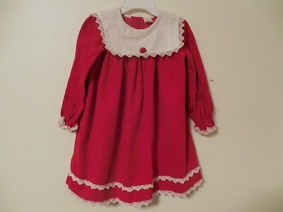 Girls Dress Size 6 Red with White collar and lace long sleeve vintage w/ Rose