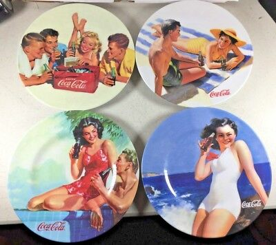 "Sakura COCA COLA - 4 Retro Collectible Summer 2002 Melamine 8 1/2"" Picnic PLATES"
