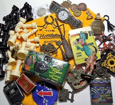 Vintage Men's Junk Drawer Lot MILITARY Militaria Toy Lead Soldiers Coins ++