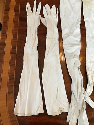 Vintage Pair Victorian Edwardian Kid Leather Ivory Opera Gloves Plus 5 Extras