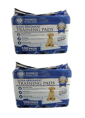 Lot (2) AKC Training Pad 100 Pack Fresh Scent Dog Potty Train Antibacterial Pet