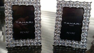 Tahari Picture Frames Silver Wflower Jeweled Motif Set Of 2 25