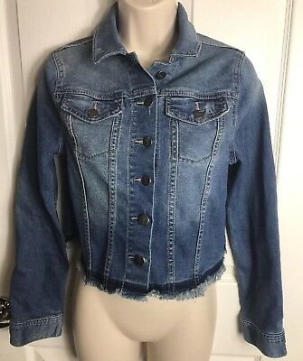 Jessica Simpson Maternity Size Small Denim Jean Undone Hem Distressed Jacket Q