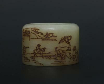 Antique Chinese Carved Natural Nephrite HeTian Jade Banzhi Ring-landscape