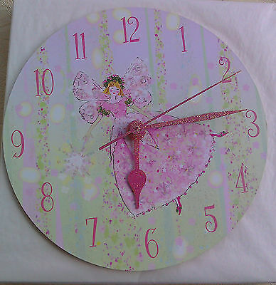 Beautiful Fairy Clock by Cute Clocks. glittery, ideal for little girl, 19 cm