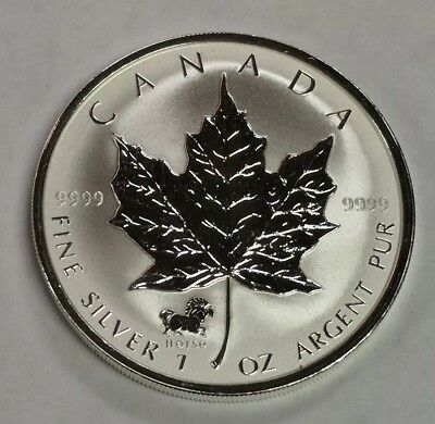 2002 Canada $5 1 oz 9999 Fine Silver Reverse Proof Maple Leaf Horse Privy Coin