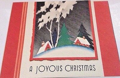 Vintage 1940s Christmas Card Unused+env Snowy Forest