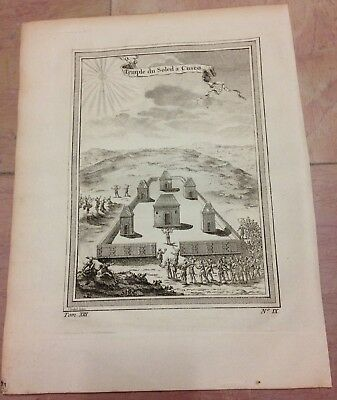 Coricancha Cusco Peru 1750 Nicolas Bellin Antique Engraved Plate 18Th Century