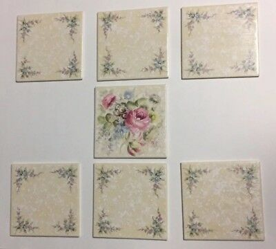 NOS Lot of 7 Antique Vintage Floral Hand Painted Tiles Germany