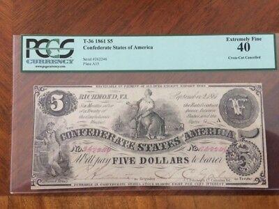 Confederate $5 1861 Note,  PCGS Grade of Extremely Fine