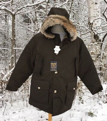 NEW WOOLRICH Arctic Parka - Dark Brown Down Parka With Real Coyote Fur Men's XL