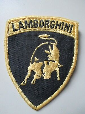 LAMBORGHINI   {  black letters with gold  background  }    * sew on patch