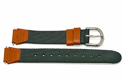 Timex 18Mm Green Brown Nylon Fabric Leather Expedition Field Watch Band Strap