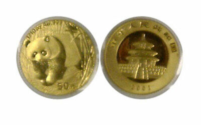 2001 China 50 Yuan 1/10th Oz. Gold Panda In Original Soft Plastic Sleeve KM 1367