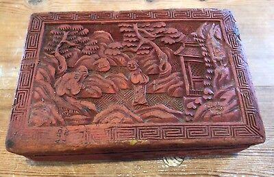 "Vintage Antique Asian Chinese Red Lacquer Cinnabar Carved Scene 5.5"" Box As-is"