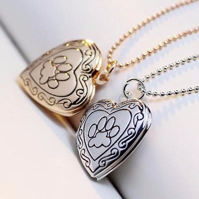Photo Frame Pet Cat Dog Paw Memory Locket Pendant Necklace Footprint DIY Gift
